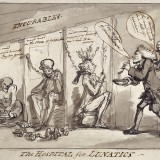 Rowlandson, Bethlem Hospital, London. Incurables being inspected,1789